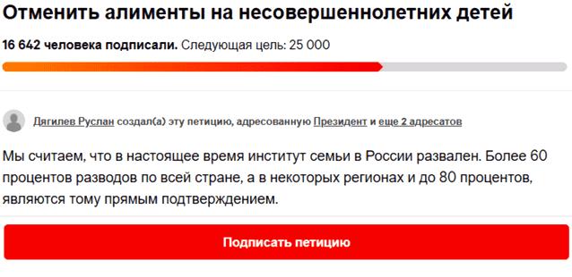 Петиция об отмене алиментов